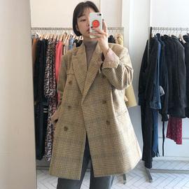【Muzly】韩国chic帅气中性风复古格纹西装领宽松长袖毛呢外套女
