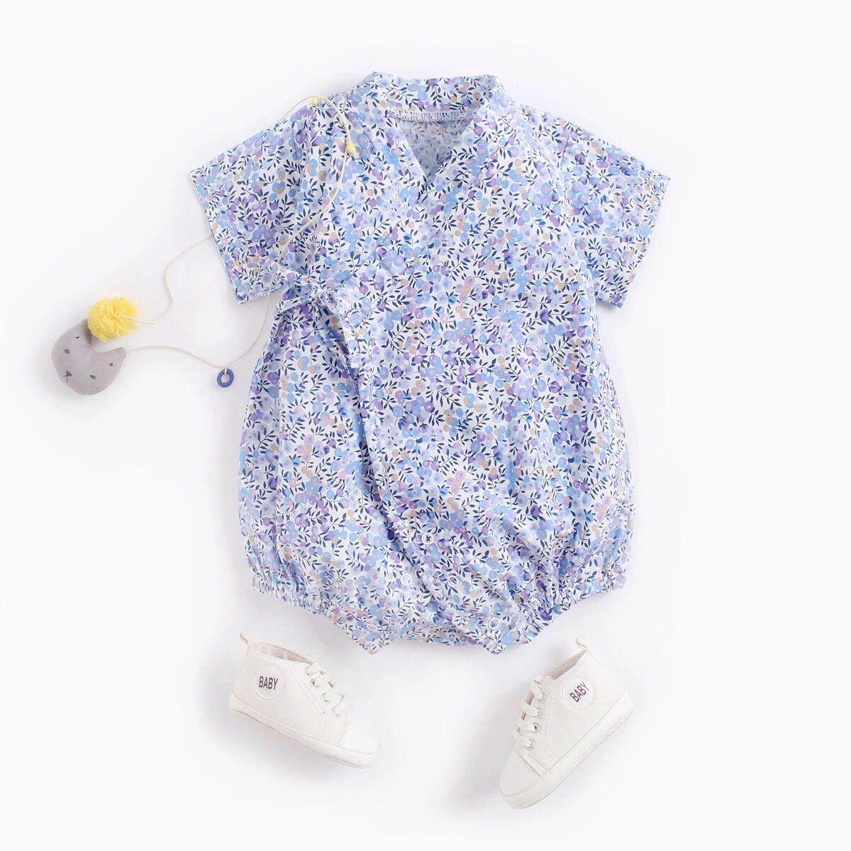 和风V领侧边系带树叶花朵印花短袖爬服 婴儿三角连身衣哈衣包屁衣