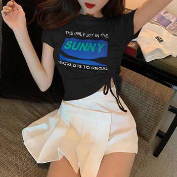 短袖T恤2020夏季网红ins超火抽绳短款韩版修身显瘦百搭上衣女通勤