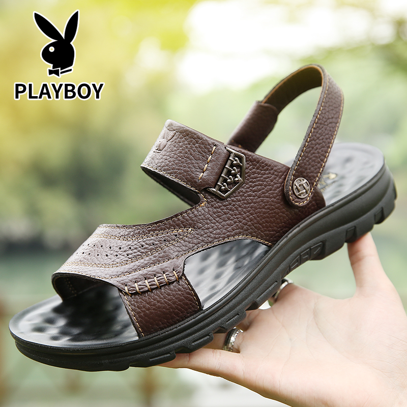 Playboy sandals mens summer 2019 new mens leather sandals dual purpose dads antiskid beach shoes for men