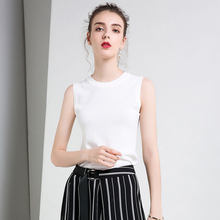 Round neck white camisole female inside bottoming shirt ice silk knit vest female summer wear sleeveless t-shirt top