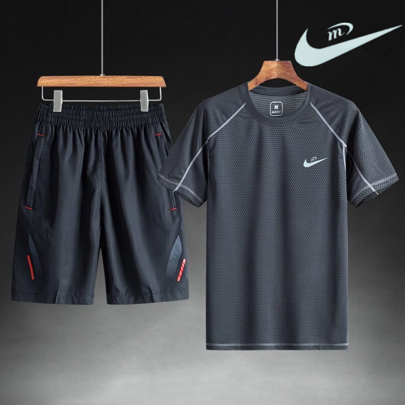 Sports suit mens summer quick drying short sleeve T-shirt shorts casual loose fitness running large outdoor sportswear