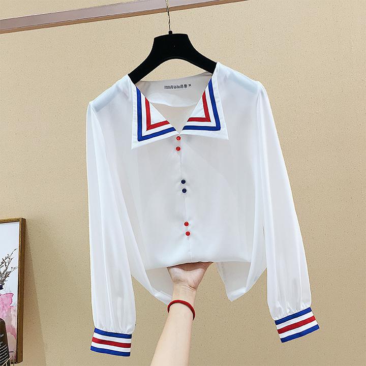 法式欧美风洋气显瘦很仙女装长袖雪纺套头拼色秋季网红超火衬衣款