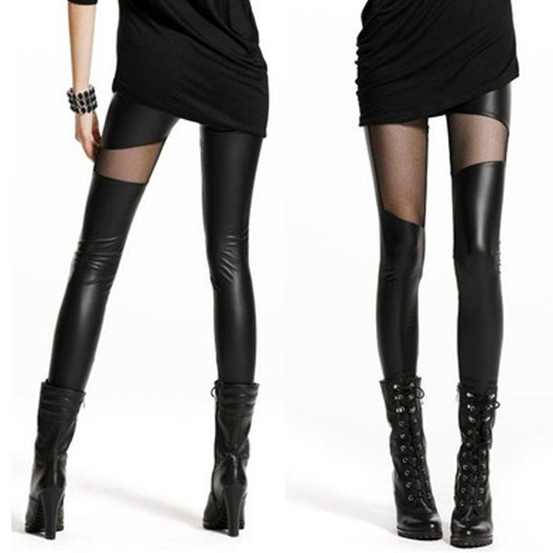 Autumn and winter thickened womens pants imitation leather stitched mesh Leggings show thin Pu Leggings plus velvet spring leather pants stitched trousers