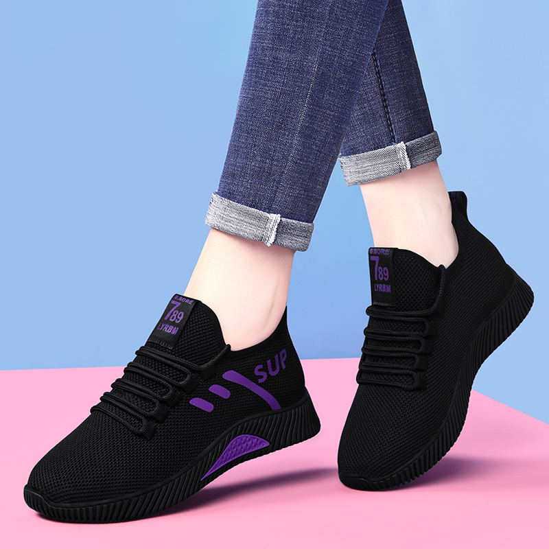 Spring and summer 2020 new flat sports shoes womens versatile breathable net shoes running casual shoes board shoes travel shoes