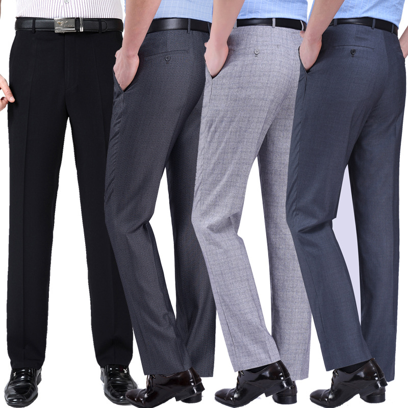 Summer mens trousers thin mens black formal wear for work easy wear trousers and trousers suit dark grey trousers mid waist straight tube
