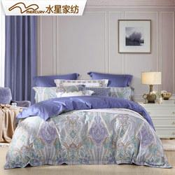 水星家纺贡缎四件套全棉被套纯棉活性印花四件套摩尔曼斯床上用品