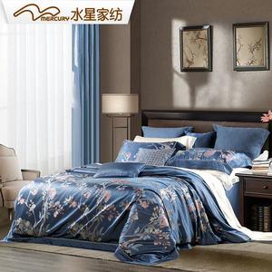 水星家纺桑蚕丝色织提花六件套轻奢套件床单被套锦罗香榭床上用品