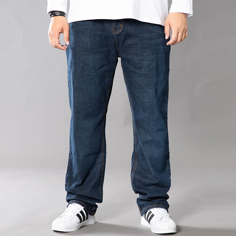 Autumn and winter new dark blue jeans mens loose straight tube mens fat plus plus size fat mans pants