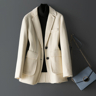 春款2021款白色西装外套女冬双面呢羊毛双面羊绒大衣女短款外套