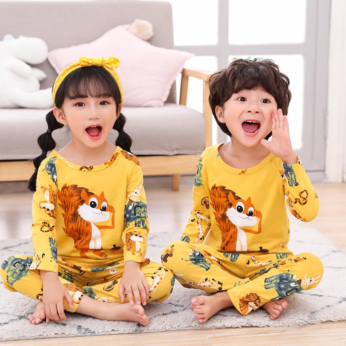 常常宅睡衣姜黄松鼠 纯棉儿童春秋男女童长袖休闲卡通家居服套装