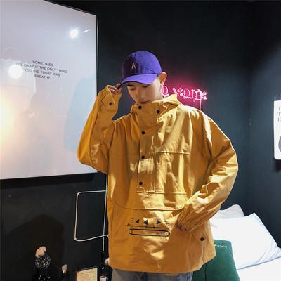 JK988/P75春装备货足男士学生夹克男嘻哈套头男大码连帽宽松外套