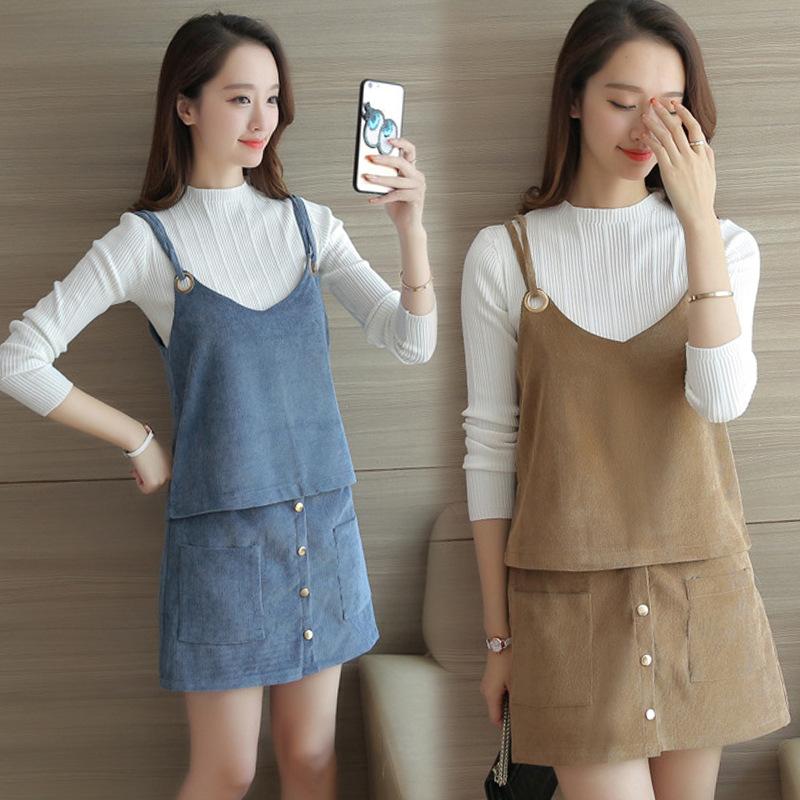 店长推荐2017名媛秋装女装时尚毛衣针织衫三件套装连衣裙