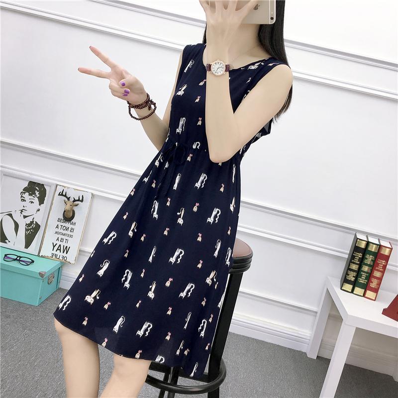 韩国chic风复古小心机纯棉薄款显瘦抽绳背心裙夏季收腰无袖连衣裙