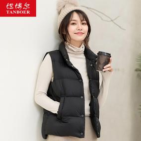 坦博尔新款2021鸭绒白色韩版马夹