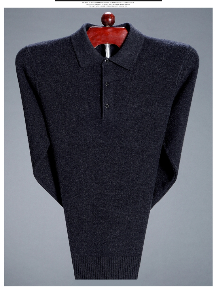 100% pure cashmere t-shirt mens long sleeve autumn and winter top knitted. Blood middle-aged thickened warm wool bottomed shirt