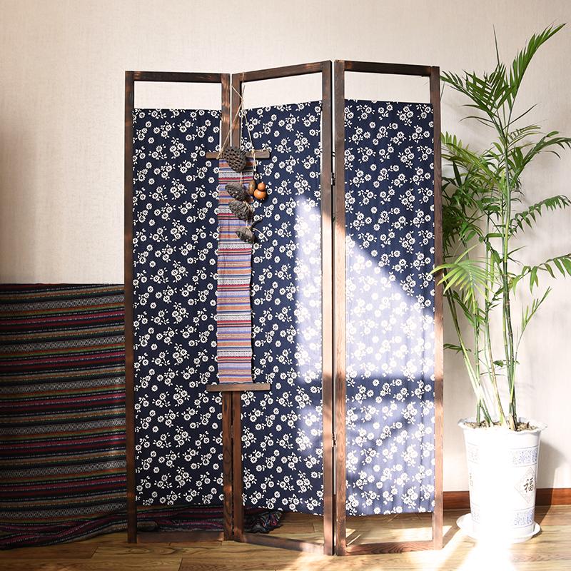 定制新中式仿古折叠客厅隔断移动折屏实木布艺日式民族风简约屏风
