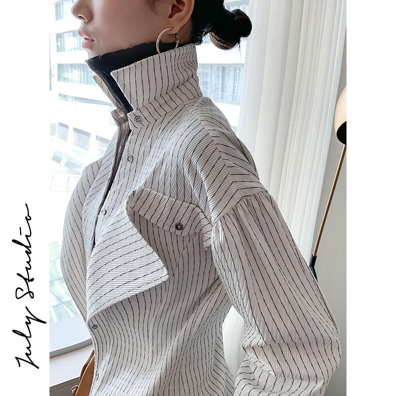 JULY白色条纹衬衫女长袖春秋时尚洋气内搭上衣设计感小众衬衣港味