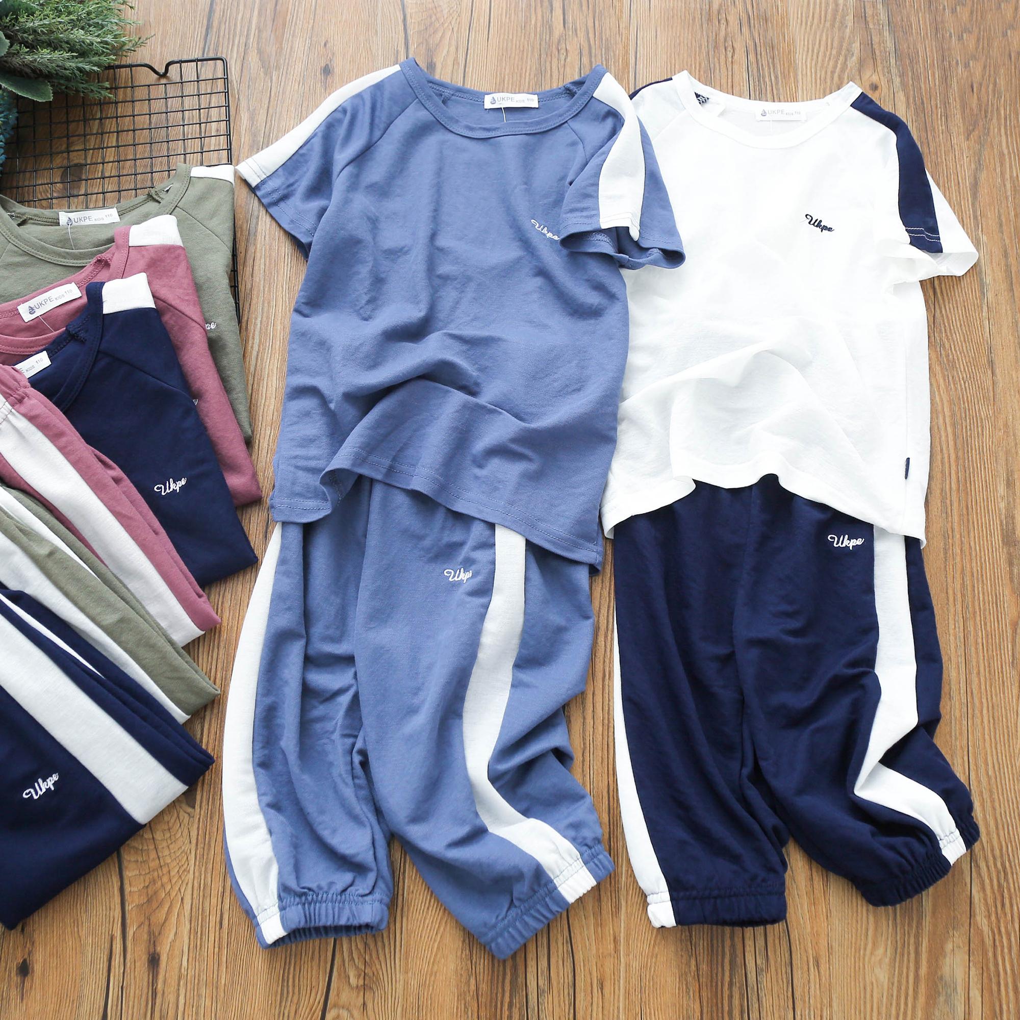 男童夏季套装新款儿童短袖短裤两件套排汗透气中大童运动夏装 Изображение 1