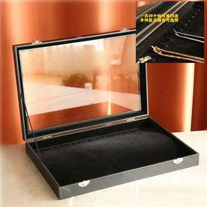 項鏈首飾盒 大 玻璃有蓋飾品盒皮手鏈包裝 柜臺項鏈展示盤DIY首飾