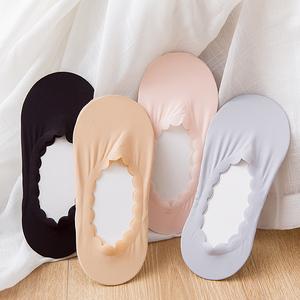 夏季冰丝船袜女超薄无痕硅胶防滑隐形袜花边浅口单鞋袜套女棉丝袜
