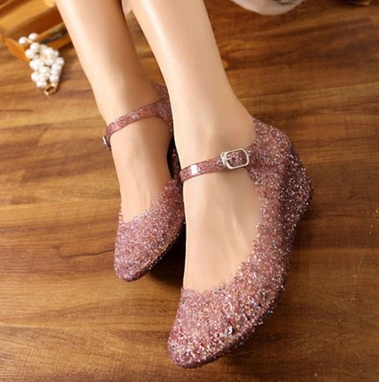 热销35件限时抢购跳舞蹈处理坡跟镂空防水晶塑胶凉鞋