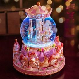 旋轉木馬音樂盒八音盒水晶球生日禮物女生送女友女孩學生天空之城圖片