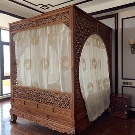 中式仿明清古典单双月洞拔步架子床亚棉麻葫芦绣花纱装饰防蚊床幔图片