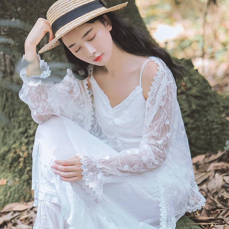 小清新蕾丝衫女2018夏季新款长袖防晒衣开衫薄外套超仙雪纺上衣短