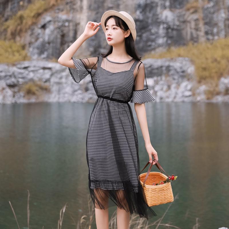 特价49元 不退不换【现货实拍】网纱两件套连衣裙