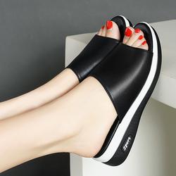 雪地意尔康正品女鞋2020新款百搭中跟坡跟拼色鱼嘴皮鞋凉拖凉鞋女
