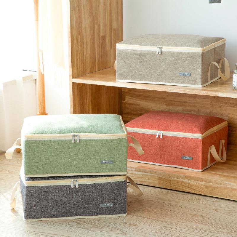 限时2件3折棉麻家用大号有盖衣物收纳箱