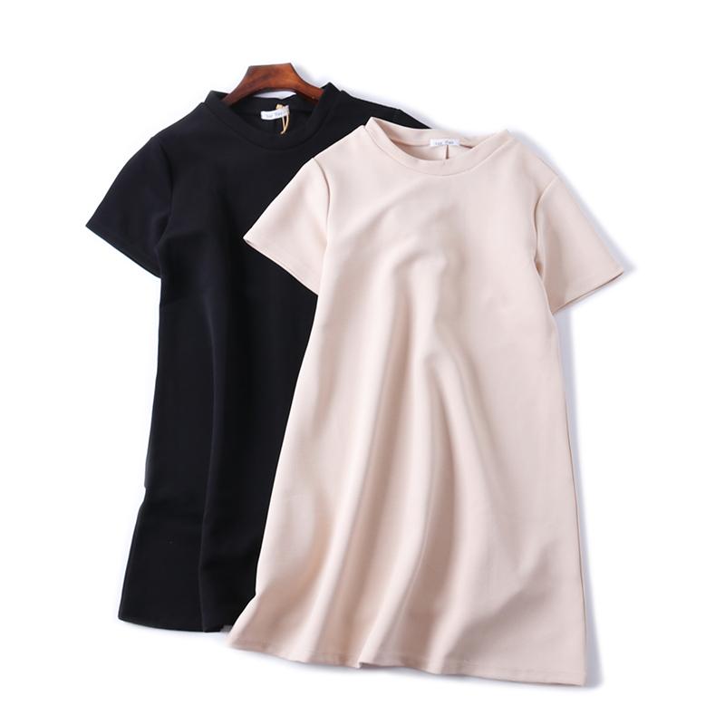 圆领套头纯色短袖连衣裙女2019夏季新款韩版修身显瘦百搭裙子K-4(用3元券)