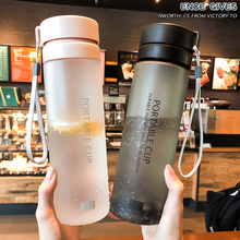Large capacity, simple, easy to use cup, sanded, tea barrier, leakproof plastic cup, male and female couple, student water cup