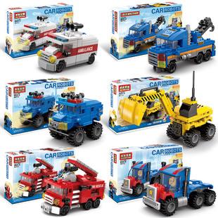拼插乐高积木小汽车儿童组装 益智力男孩子拼装 玩具迷你拼图救护车