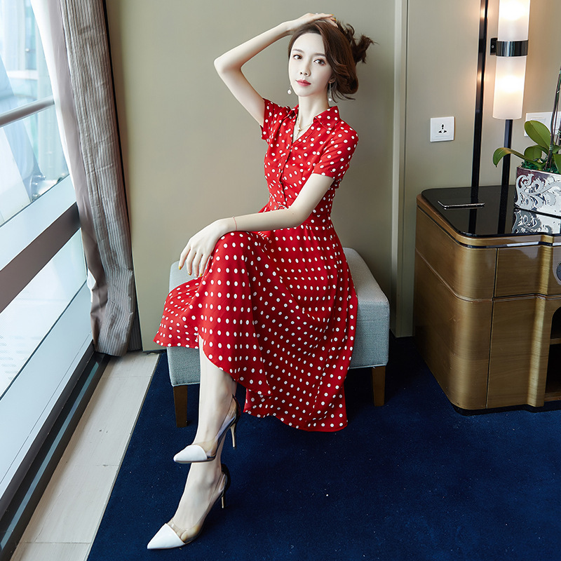 Autumn womens 2019 new Chiffon Polka Dot Dress star with Lolita style Korean version showing thin big swing skirt
