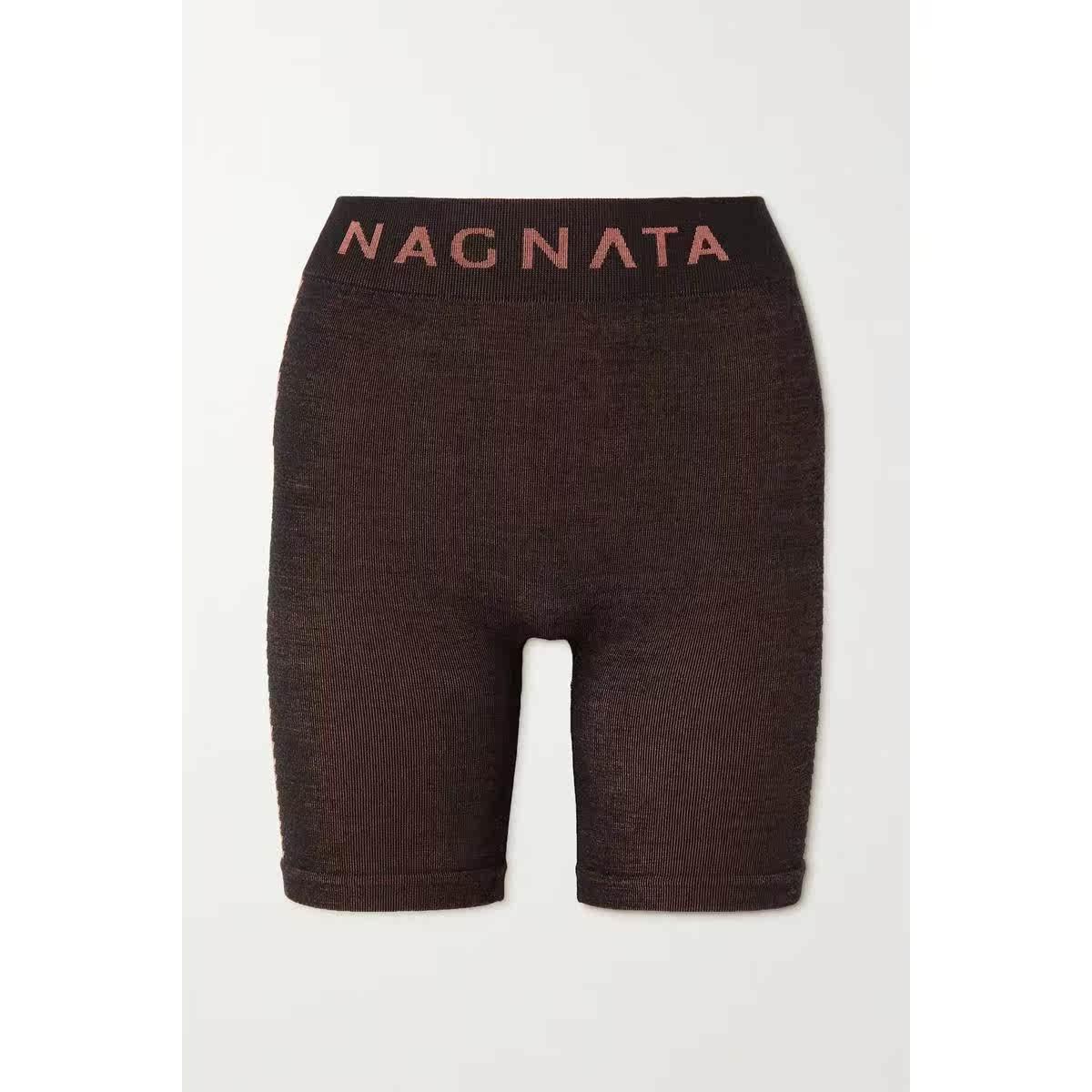 代购NAGNATA NET SUSTAINSuki 条纹美利奴羊毛混纺短裤女奢侈品