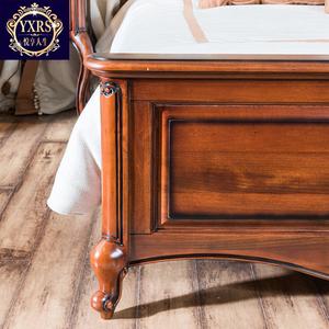悦享人生 小美式床 美式乡村欧式全实木床真皮床双人床 1.8米婚床