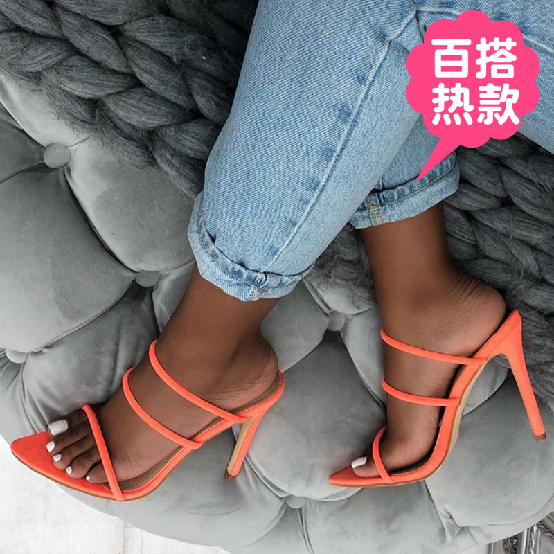 Summer pointed thin heel sandals womens casual womens fashion Korean large suede pointed fish mouth high heels