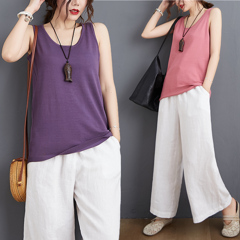 New loose and thin round neck knitted solid color bottomed vest womens sleeveless top in summer 2020
