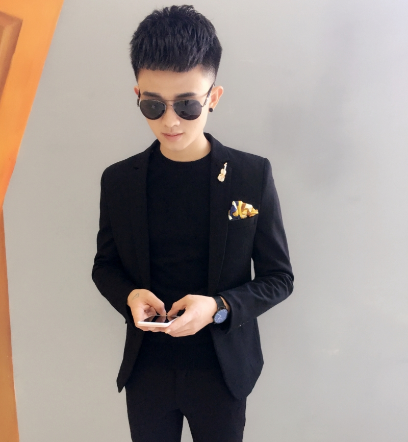 Small size autumn and winter suit mens coat hairstylist youth Korean suit slim fit leisure fashion business single Western Top