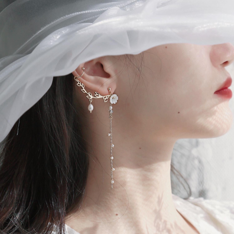 SU苏家 雪落空枝 高级感耳骨夹耳环冬季款一体式珍珠耳钉森系超仙图片