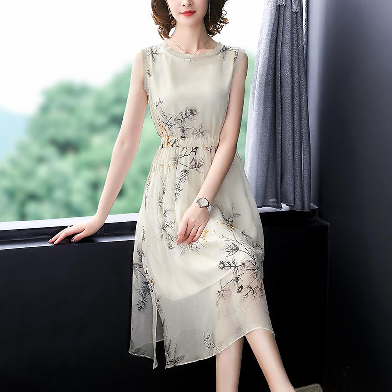 真丝连衣裙桑蚕丝2020新款夏天无袖长裙很仙的小众显瘦背心裙