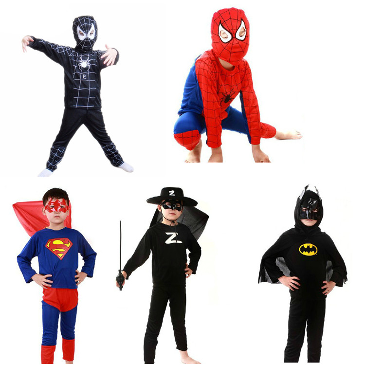Childrens day performance Costume Black Red Spider Man Costume Cosplay Batman Superman costume package