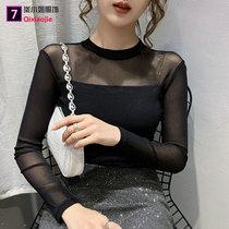 秋装2021新款女t恤性感蕾丝衫长袖网纱内搭上衣大码半高领打底衫