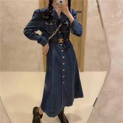 炸街秋季韩版单排扣牛仔女百搭气质连衣群过膝长裙收腰显瘦长袖裙