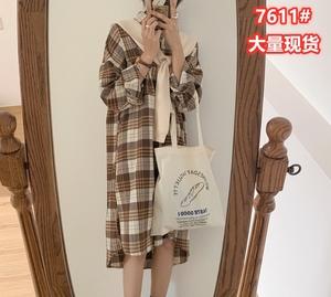 7611#韩国chic秋季百搭复古格纹翻领单排扣衬衫式长袖连衣裙女