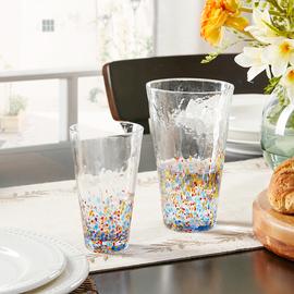 Harbor House手工彩色波点杯子撞色玻璃水杯可爱花茶杯Gorden