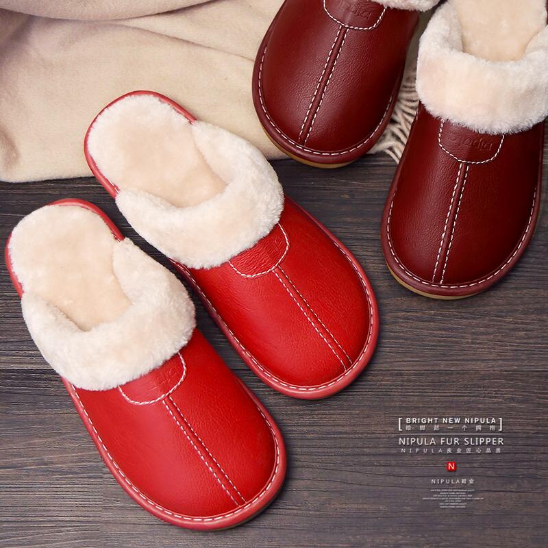 情侣棉拖鞋冬季居家男女室内地板防滑月子厚底保暖家用皮拖鞋冬天