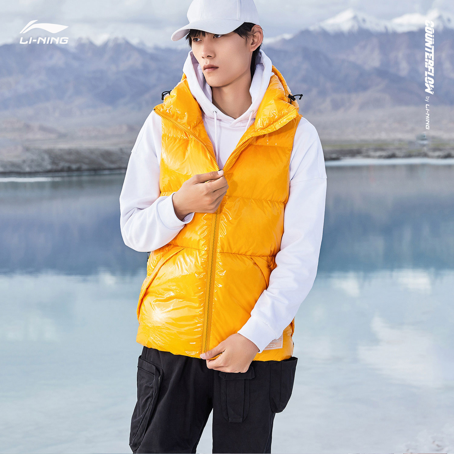 Li Ning CF short down jacket new down vest men's and women's Hooded Winter White Duck Down Vest
